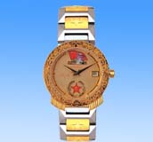 Fansy jewelry gift shopping online catalog wholesale golden round face fashion watch with ancient Wiccan star in circle pattern decor. A beauty you can not resist!