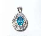 Cz pendant online collection wholesale fashion cz pendant with an oval shape blue cz embedded at centre. Beautifully suspended on silver chain. Wearing this to be an attractive night party queen!