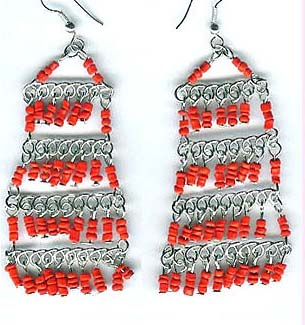 Fine Southwestern Chandelier beaded earring wholesale online offering multilayers red beaded fish hook fashion earring. Bright red beads, silver wire hanger perfect match for an easy eyes-catching effect!