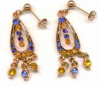 Trendy fashion catalog 2004 online suppliers presenting multi color cubic zirconia beaded fashion earring. Perfect every occassion!