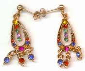 Golden earring online collection supply wholesale loop design fashion stud earring with multi color beads and beaded dangle. A beauty that you can not resist !