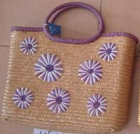Direct import  Indonesia fashion beach bag with purple daisy flower decor. Summer is the greatest season the year. Getting one of this beatifu design beach handbag to the most popular summer sweet heart!