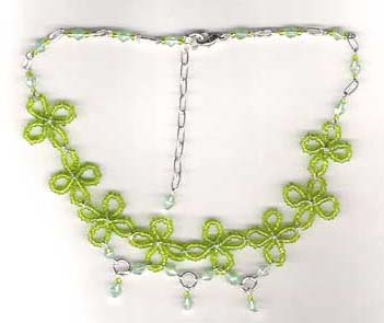 Beaded necklace wholesale jewelry online supply flower design fashion necklace with green beads decor. A beautiful piece in the most competitve price offfered.
