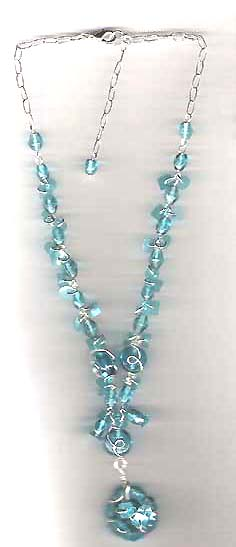Gift for beads lovers wholesale catalog online offering blue beaded fashion necklace with blue bea pendant. All of our necklace are beautiful and uniqe. Wearing this of these pieces to captur everybody's eye sight!