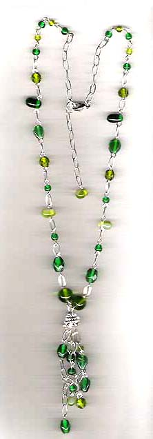 Artists design jewelry from Earth's treasure online catalog wholesale green beaded fashion necklace. all beads are shiny, transparent and in different green tone. Coll, neat, eyes-catching!